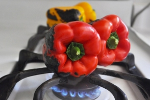 Roasting peppers stove-top